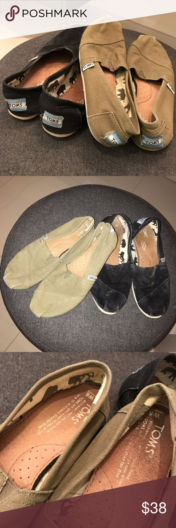 Original Black and Olive TOMS Slip On Flats