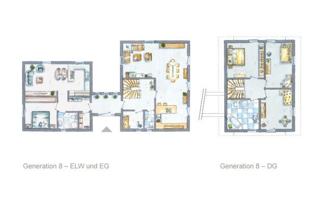 16 best images about zwei generationen wohnen grundrisse for Zweifamilienhaus mit einliegerwohnung grundrisse