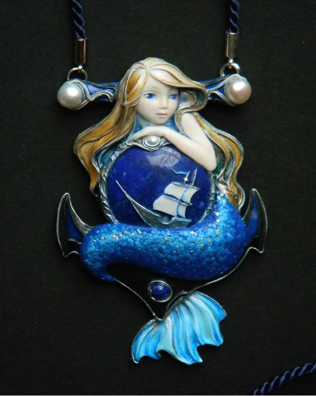 Mermaid necklace, mermaid pendant, blue necklace, sea, navy blue necklace, cute mermaid, handmade  jewelry, art nouveau, ooak jewelry, freyajewelryartlab
