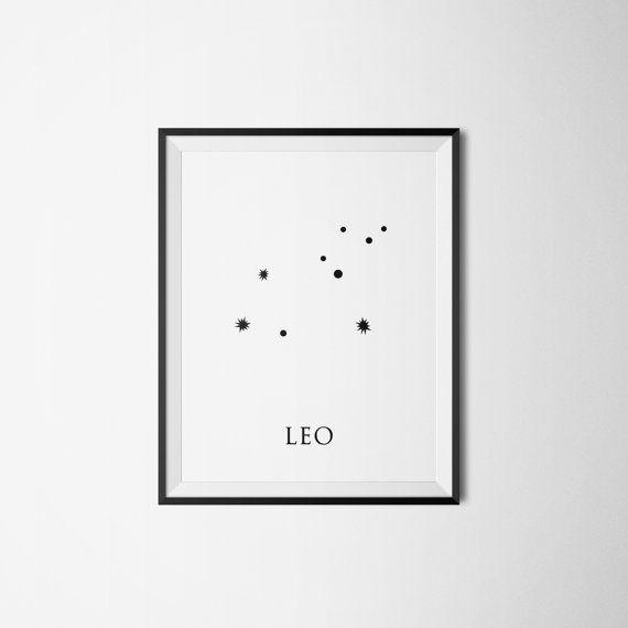 Leo Constellation Printable Wall Art - Constellation Minimalist Instant Download - Zodiac Print