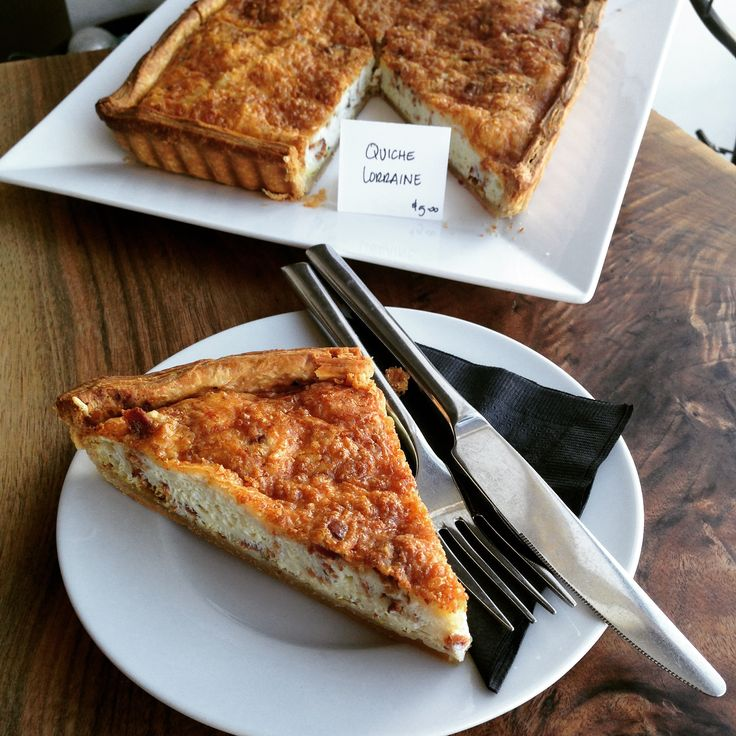 We feature Quiche Lorraine daily for lunch. It's a deliciously light fluffy quiche with bacon and Dijon.