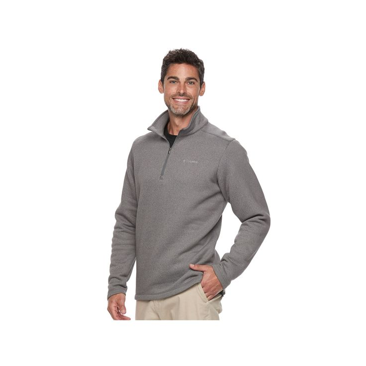 Men's Columbia Ortega Oaks Quarter-Zip Fleece Jacket, Size: Medium, Med Grey