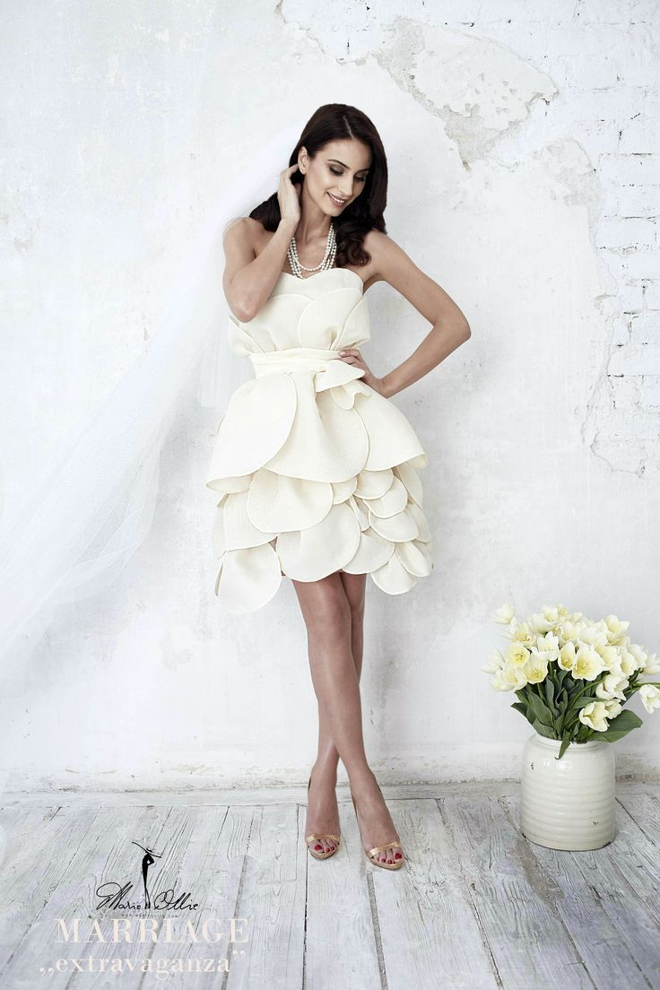 "Marie Ollie, Marriage ,,extravaganza"" wedding short dress, flower bride"