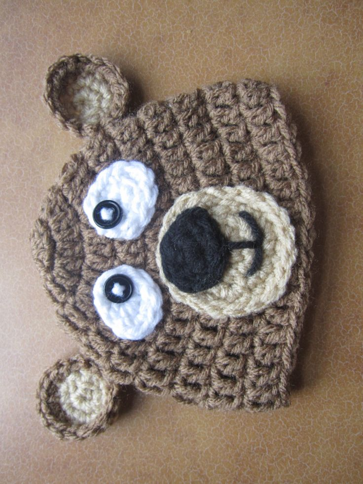 Gorra+de+Oso+de+crochet+por+Karohook+en+Etsy,+$12,00