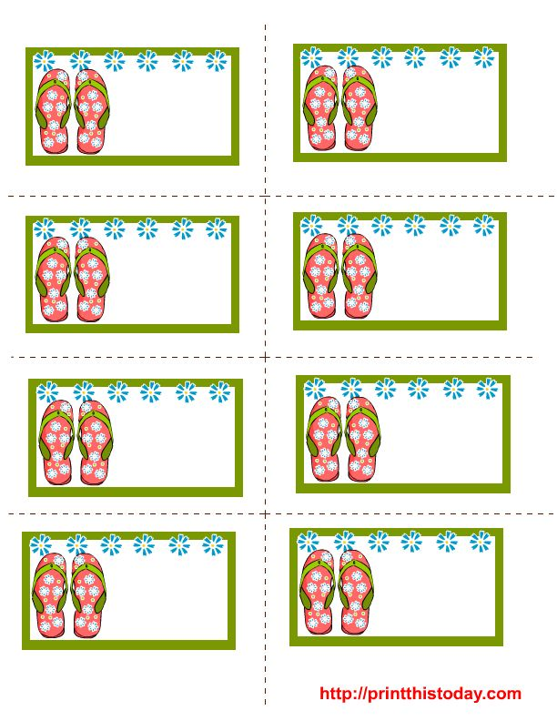 free labels printable | Free printable summer labels with flip flops