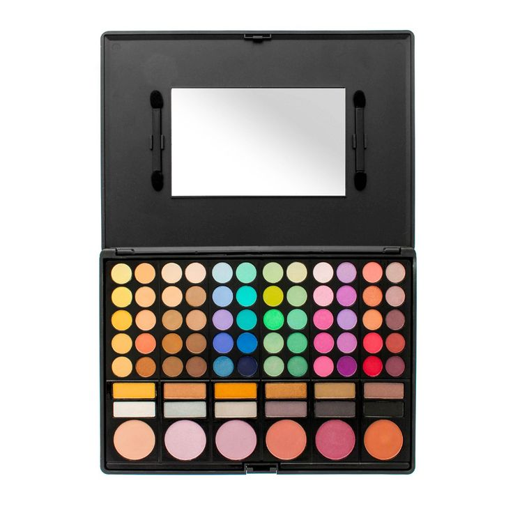 The Crownbrush Professional 78 Palette comes in everyday colours and is perfect for those occasions when you need bright colours to create something fun and creative! The palette comes with 72 highly pigmented colour eye shadows, including shimmer and matte, 6 colour cheek blushers.A matte black compact case with a built-in mirror and 2pcs of duel end eye shadow applicators. *60 eye shadow colours*12 highlight
