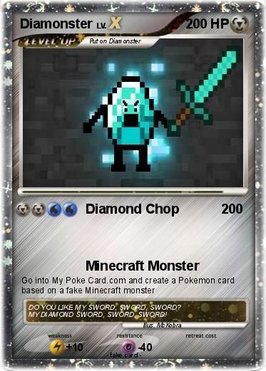 Minecraft Pokemon Cards | Funny Fake Pokemon Cards Minecraft Pokemon diamonster