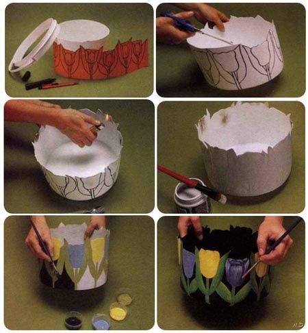 Como hacer portamacetas con tulipanes pintados.