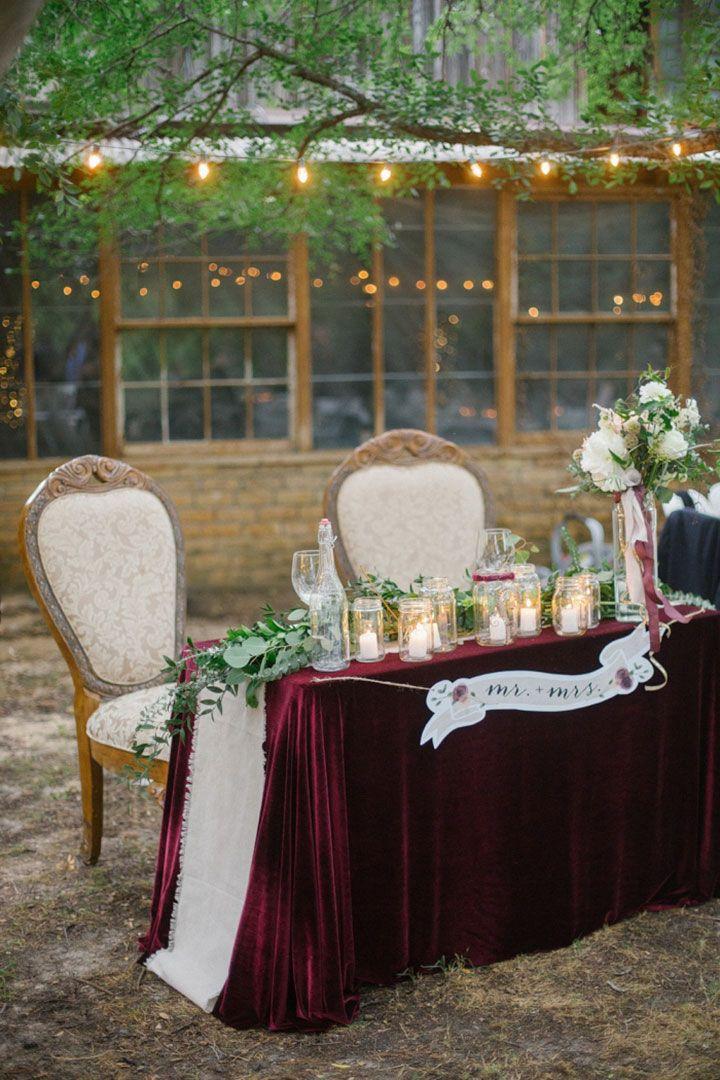 Love the velvet table covering! ~ we ❤ this! moncheribridals.com