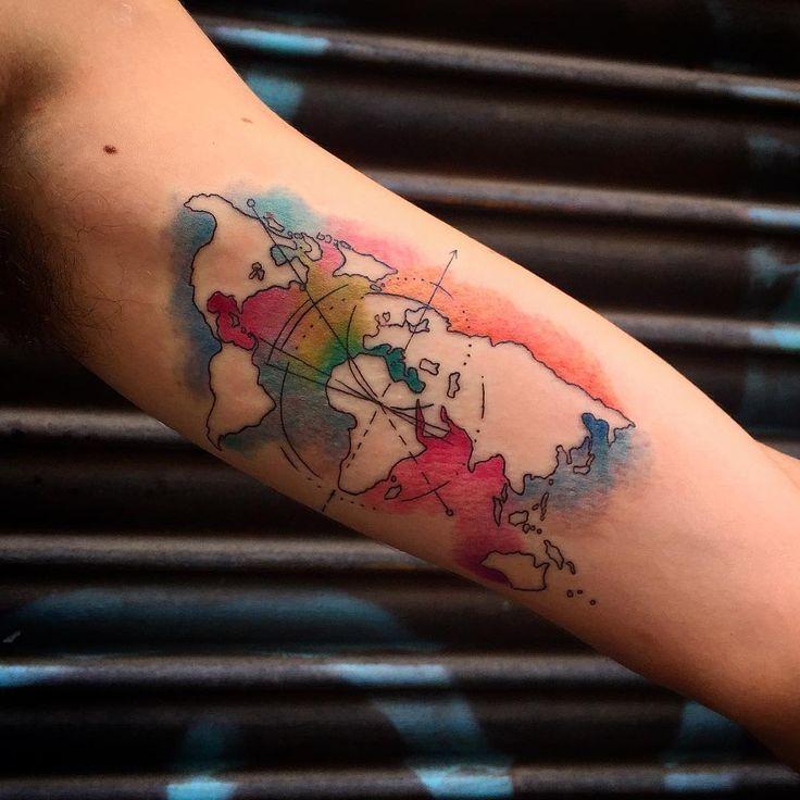Image result for mapa mundi 3d tattoo