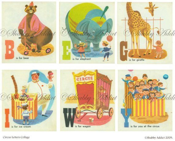 Vintage Circus Alphabet Nursery Digital Collage Sheet Images: So cute to do a nursery in vintage circus, but not the creepy kind...