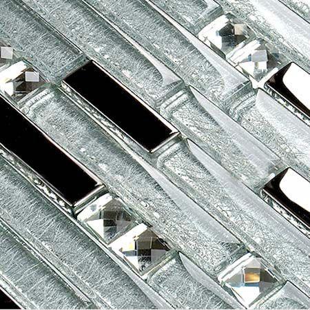 crystal backsplash   Interlocking Mosaic Tile Backsplash Diamond Crystal Glass Tiles ...