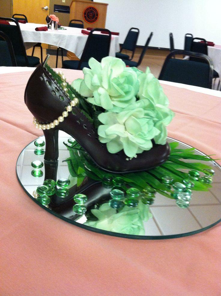 Shoe centerpiece centerpieces pinterest floral
