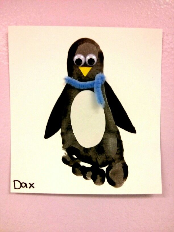Penguin footprint. Toddler's activity.