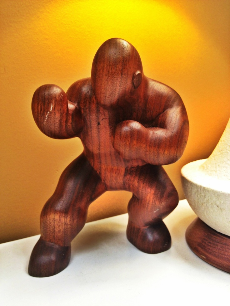 Hand carved wood boxer