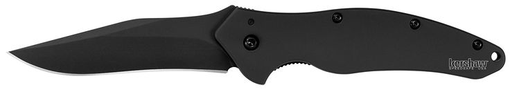 Kershaw Black Shallot Knife with Tungsten DLC Black coating on Blade & Handle. Made in the USA. DLC coating -Handle: 410 stainless steel. DLC coating -Blade length: 3.5 in. (8.9 cm) -Closed length: 4.4 in. (11.1 cm) -Overall length: 7.9 in. (20 cm) -Weight: 4.2 oz. (119 g). Stainless-steel with Tungsten DLC black coating. Handle: 410 stainless-steel with Tungsten DLC black coating; Lock: Frame; Blade: 3-1/2 in. (8.9 cm);Weight: 4.2 oz. Equipped with SpeedSafe ambidextrous manually…