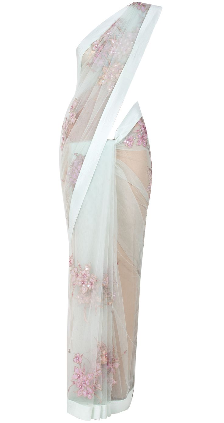 Sea foam net sari by SHEHLA KHAN. Shop at http://www.perniaspopupshop.com/whats-new/shehla-khan-7241