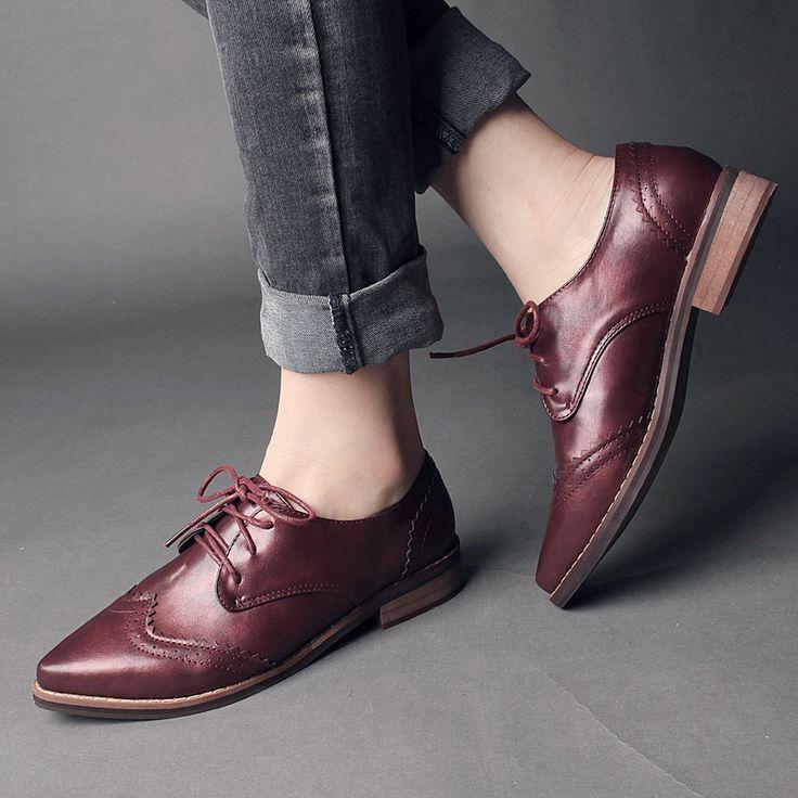 Vintage Leather Shoes Woman