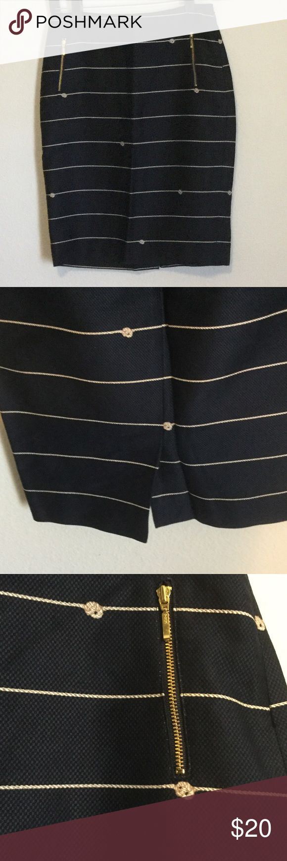 Navy nautical skirt Adorable pencil skirt with nautical detail. I love this with a white shirt and red heels! Worn once. The Limited Skirts Pencil