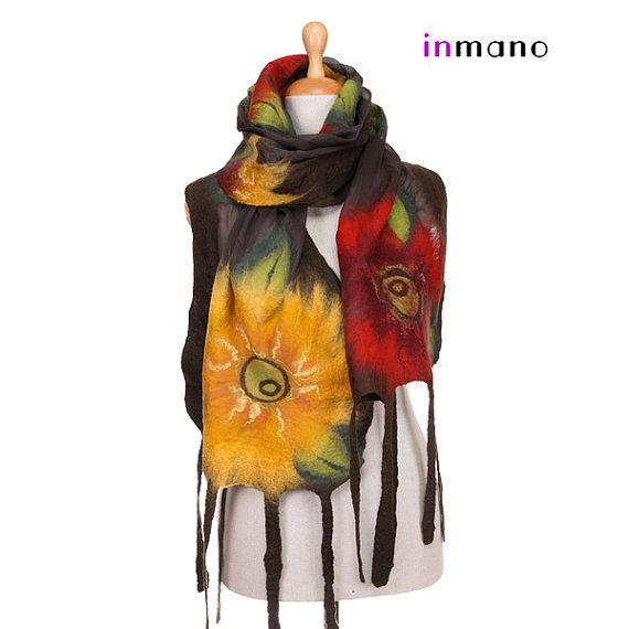 nuno felted scarf autumn red yellow flowers leaves silk by inmano