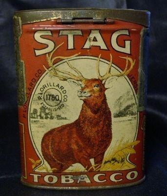 Vintage 1910 STAG Lorillard Tobacco Tin Cigarettes & Pipe Great Vivid Litho | eBay