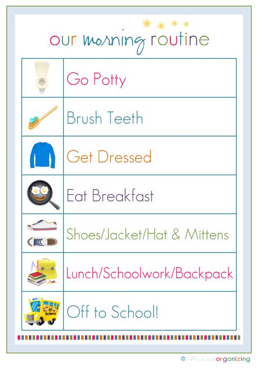 Morning Routine, just in time for our new adventure of Kindergarten : IHeart Organizing: Free Printables