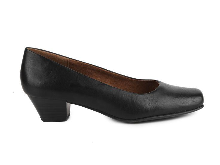 Caprice - Klasické lodičky s hranatou špičkou na nižším podpatku šíře G 9-22307-21 / černá
