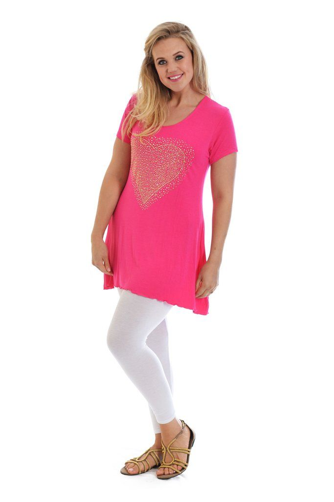 Sweet Gold Studded Heart Tunic Plus Size Top - Cerise