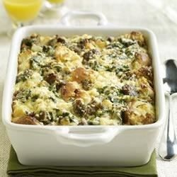 This substantial casserole of eggs, cheese, onion, spinach, sausage and Sister Schubert's Whole Wheat Yeast Dinner Rolls can be assembled the night before and baked the next morning.