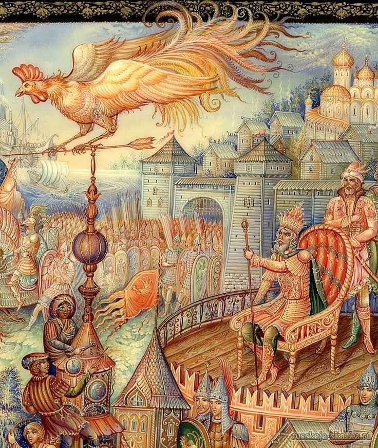 """""""Сказка о золотом петушке"""", Пушкин А.С. http://russkaja-skazka.ru/skazka-o-zolotom-petushke/ Вот проходит восемь дней, а от войска нет вестей: Было ль, не было ль сраженья, — Нет Дадону донесенья. Петушок кричит опять. Кличет царь другую рать; Сына он теперь меньшого шлет на выручку большого...  #сказки #картинки #ПушкинЗолотойПетушок  #art #Russia #Россия #добро #дети  #иллюстрации #paint #картины #художник #Палех #ЛаковаяМиниатюра #RussianLacquerArt #RussianFairyTales @russkajaskazka"""