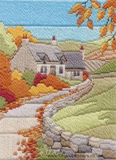 Autumn Cottage Long Stitch Kit From Derwentwater Designs