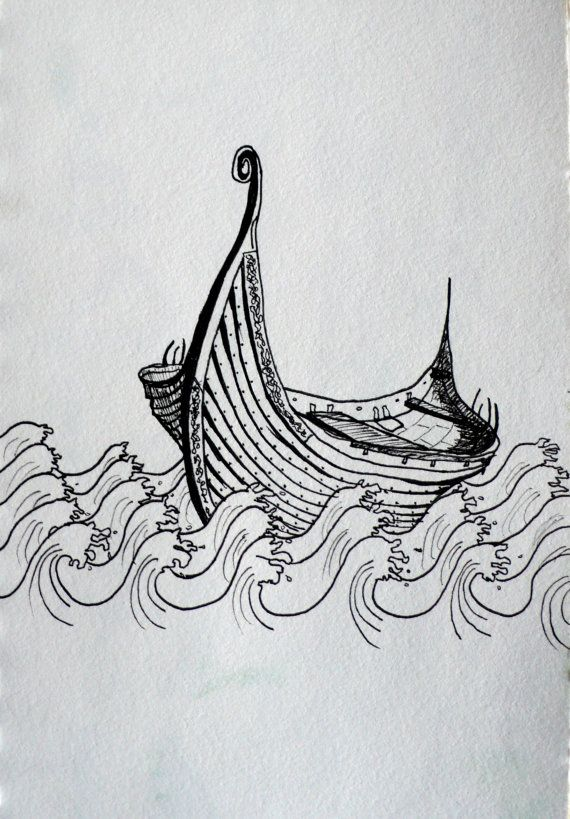 "Viking ship art print - ""Drifting across the seas"" by Marie-Noëlle Wurm  $15.00"