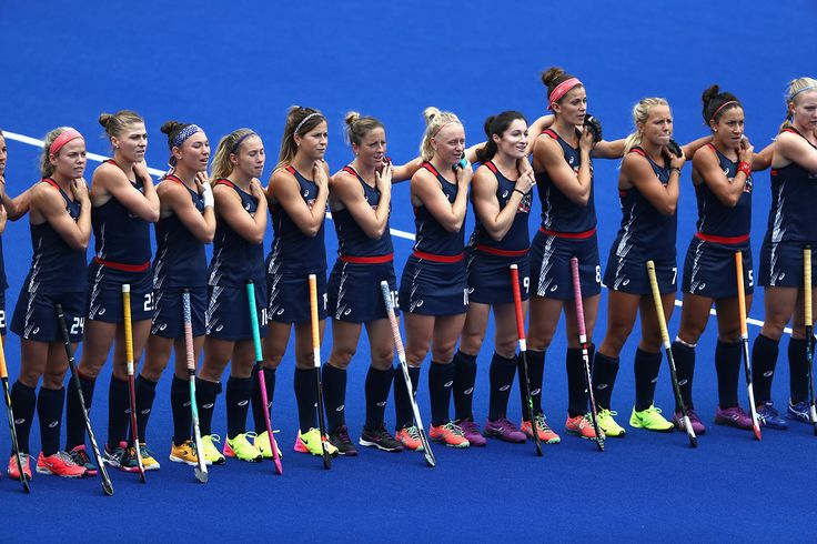 . RIO DE JANEIRO, BRAZIL - AUGUST 08:  Team United States lines up for introductions against Australia during a Women\'s Pool B match on Day 3 of the Rio 2016 Olympic Games at the Olympic Hockey Centre on August 8, 2016 in Rio de Janeiro, Brazil.  (Photo by Sean Haffey/Getty Images)