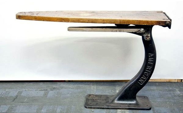 iron and wood American industrial ironing board from the '30s,