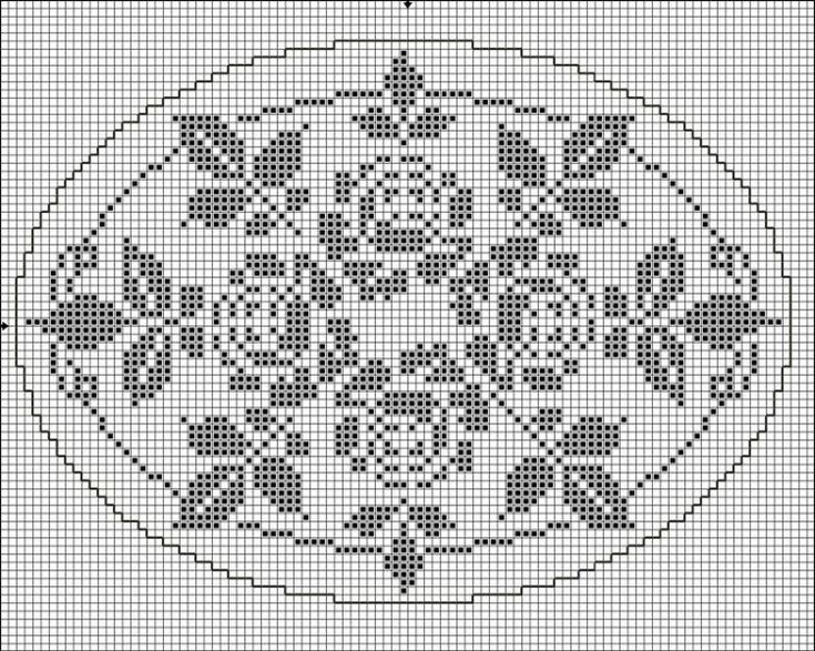 Oval 04 | Free chart for cross-stitch, filet crochet | gancedo.eu