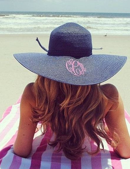 Mother's Day Beach Gifts for Her:  Monogrammed Floppy Beach Hat by Monogram Belle @ Etsy