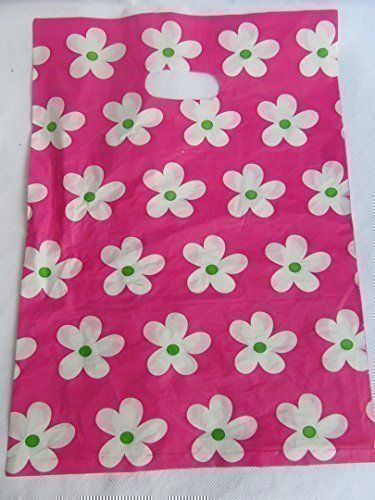 From 3.95 40 Bags Per Pack Quality Fashion Animal Leopard Circles Flowers Polka Dots Print 25cmx25cm Plastic Carrier Bags For Shops Markets Party Gift Loot Bags - By Fat-catz-copy-catz (pink Flowers)