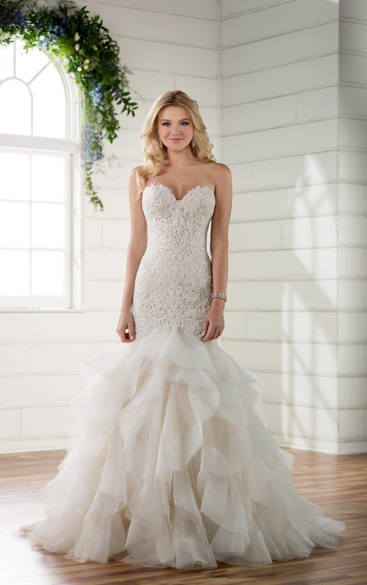 Style D2258: Rococo Beaded Wedding Dress with Textured Skirt by Essense of Australia