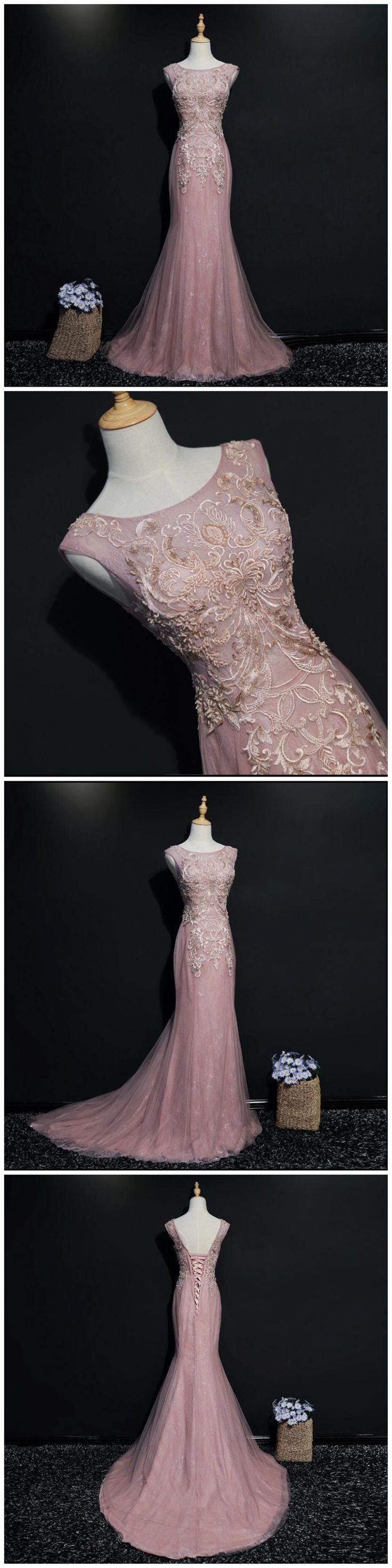 Lace Mermaid Cap Sleeve Scoop Neckline Unique Long Evening Prom Dresses, Popular 2018 Party Prom Dresses, Custom Long Prom Dresses, Cheap Formal Prom Dresses, 17217