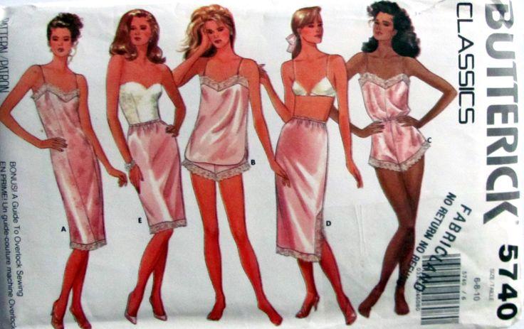 Butterick 5740, Misses classic Lingerie Sewing Patterns, Ladies Sizes 6,8 and 10, Uncut, Camisole, Panties, Teddy, Half Slip, Petite Slip by OnceUponAnHeirloom on Etsy