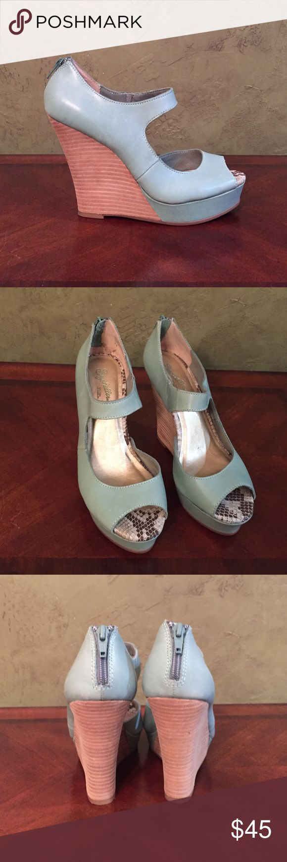 Muted mint wedges Seychelles wedges. Size 7.5. Excellent condition/Like new. Beautiful muted mint or sea foam green color. Seychelles Shoes Wedges