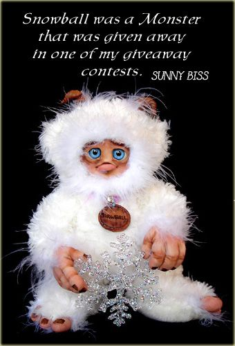 """""""Snowball"""" Winter Giveaway Monster I did. By Sunny Biss. http://www.sunnybiss.com"""