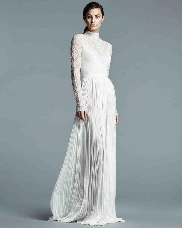 Long sleeve wedding dresses we love martha stewart for Unique wedding dresses with sleeves
