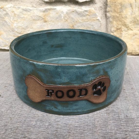 Dog bowl pottery personalized dog dish by DragonflyPotteryCom