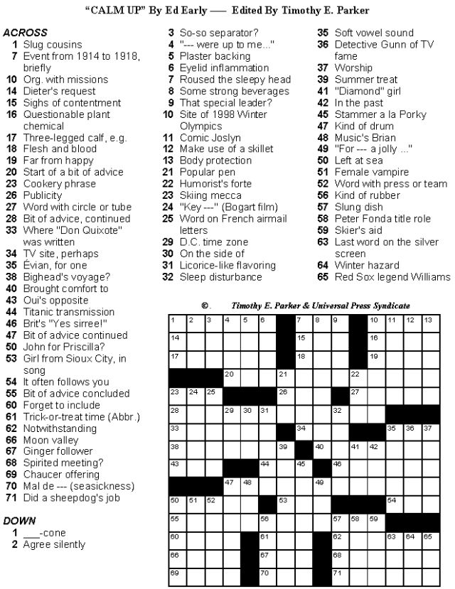 Medium Difficulty Crossword Puzzles with Lively Fill to