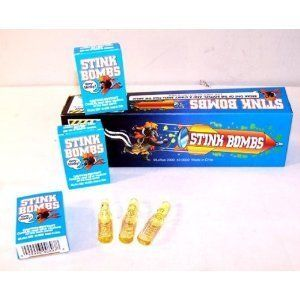 Stink Bombs 12 Boxes by Stink Bombs. $9.49. These stink bombs smell nasty. You get a case of 36 viles. Whether your goal is to clear out a whole room or play a practical joke on your friends or family these Stink Bombs are sure to gross out your intended victims. Just break the Stink Bombs open and watch everybody run.