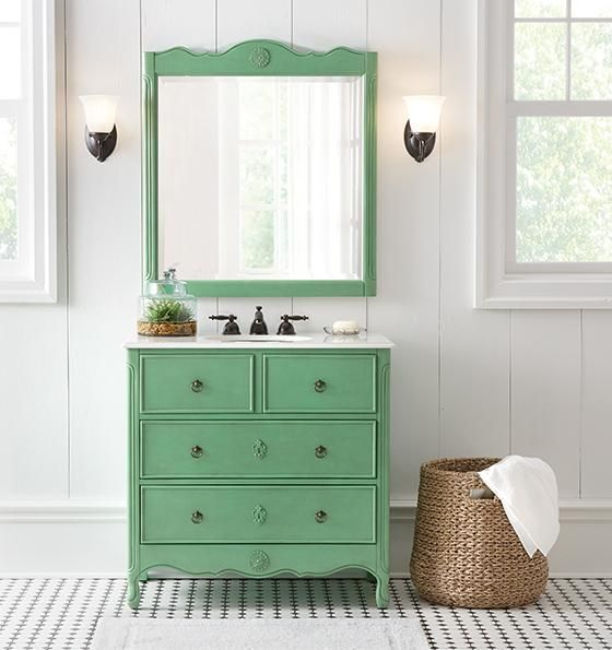 Vintage Bathroom Vanity in Green and Other colors to get the antique look in your bathroom. 1000  ideas about Vintage Bathroom Vanities on Pinterest   Dresser
