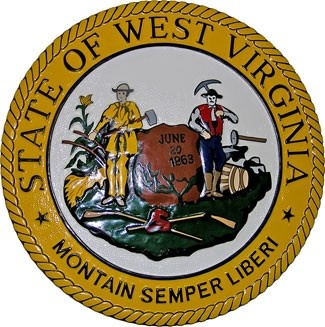 West Virginia State Seal Plaque: The official seal of the state of West Virginia has remained unchanged since it was first adopted in 1863. Soon after West Virginia gained statehood, the state's first Legislature authorized artist Joseph H. Diss Debar's design for its official seal.