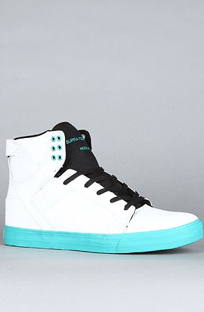 The Skytop Sneaker in White Tumbled Action Leather & Teal by SUPRA at karmaloop.com