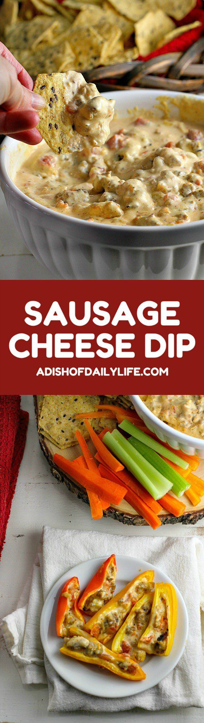 This Crock Pot Sausage Cheese Dip is an easy-to-make crowd pleaser for game day! Only minutes of prep work, then throw all your ingredients in the slow cooker for an hour. Great with chips and veggies!